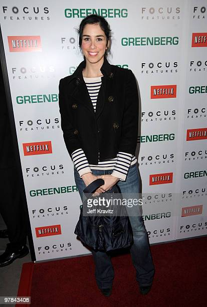 Actress Sarah Silverman arrives at the premiere of Greenberg presented by Focus Features at ArcLight Hollywood on March 18 2010 in Hollywood...