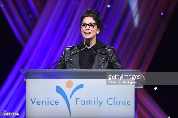 Actress Sarah Silverman attends the Venice Family Clinic's 36th Annual Silver Circle Gal at The Beverly Hilton Hotel on March 19 2018 in Beverly...