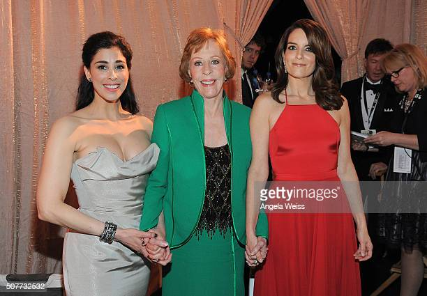 Actress Sarah Silverman honoree Carol Burnett and actress Tina Fey attend the 22nd Annual Screen Actors Guild Awards at The Shrine Auditorium on...