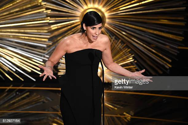 Actress Sarah Silverman speaks onstage during the 88th Annual Academy Awards at the Dolby Theatre on February 28 2016 in Hollywood California