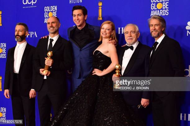 Actress Sarah Snook , Alan Ruck , Brian Cox , Nicholas Braun , creator Jesse Armstrong and Jeremy Strong pose in the press room with the award for...