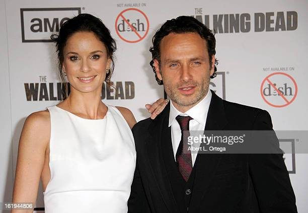 Actress Sarah Wayne Callies and actor Andrew Lincoln arrive for AMC's 'The Walking Dead' Season 3 Premiere held at AMC Universal Citywalk Stadium 19...