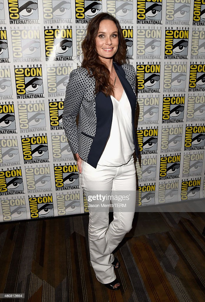 Actress Sarah Wayne Callies attends the 'Colony' press room during Comic-Con International 2015 at the Hilton Bayfront on July 10, 2015 in San Diego, California.