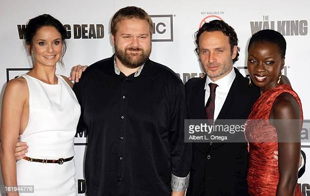 Actress Sarah Wayne Callies creator Robert Kirkman actor Andrew Lincoln and actress Danai Gurira arrive for AMC's 'The Walking Dead' Season 3...