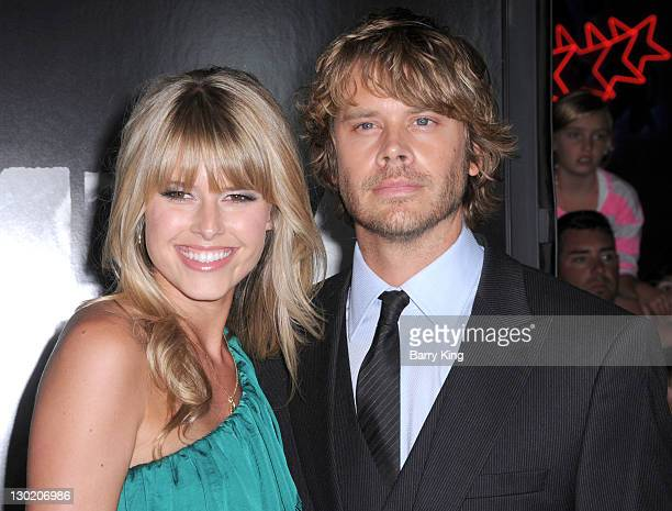 Actress Sarah Wright and actor Eric Christian Olsen attend the premiere of The Thing at AMC Universal City Walk on October 10 2011 in Universal City...