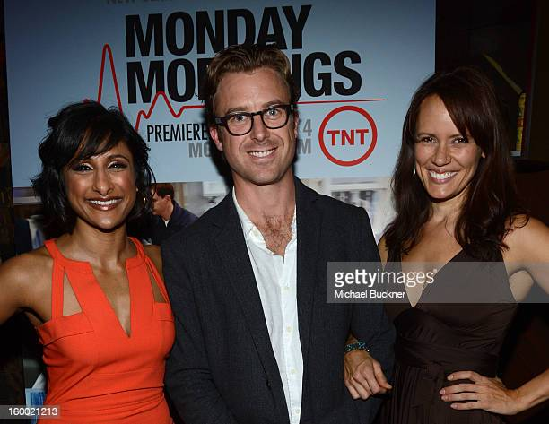 Actress Sarayu Blue Guest and actress Emily Swallow attend Monday Mornings Premiere Reception at at BOA Steakhouse on January 24 2013 in West...