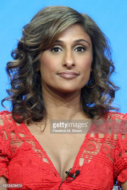 Actress Sarayu Blue of the television show 'I Feel Bad' speaks during the NBC segment of the Summer 2018 Television Critics Association Press Tour at...