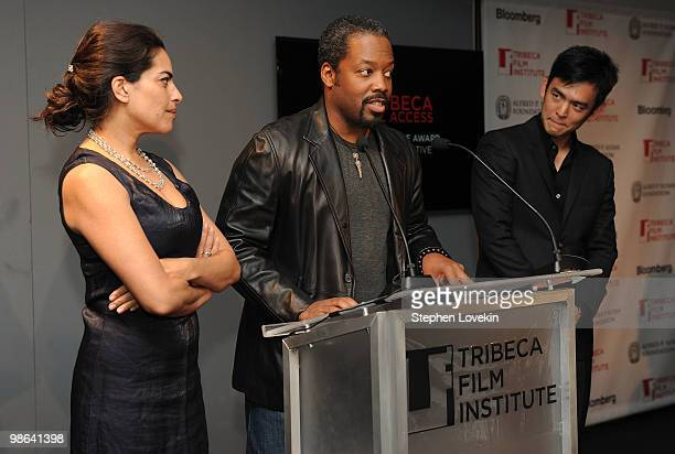 Actress Sarita Choudhury actor Kadeem Hardison and actor John Cho speak at the TFI Awards Ceremony during the 2010 Tribeca Film Festival at The Union...