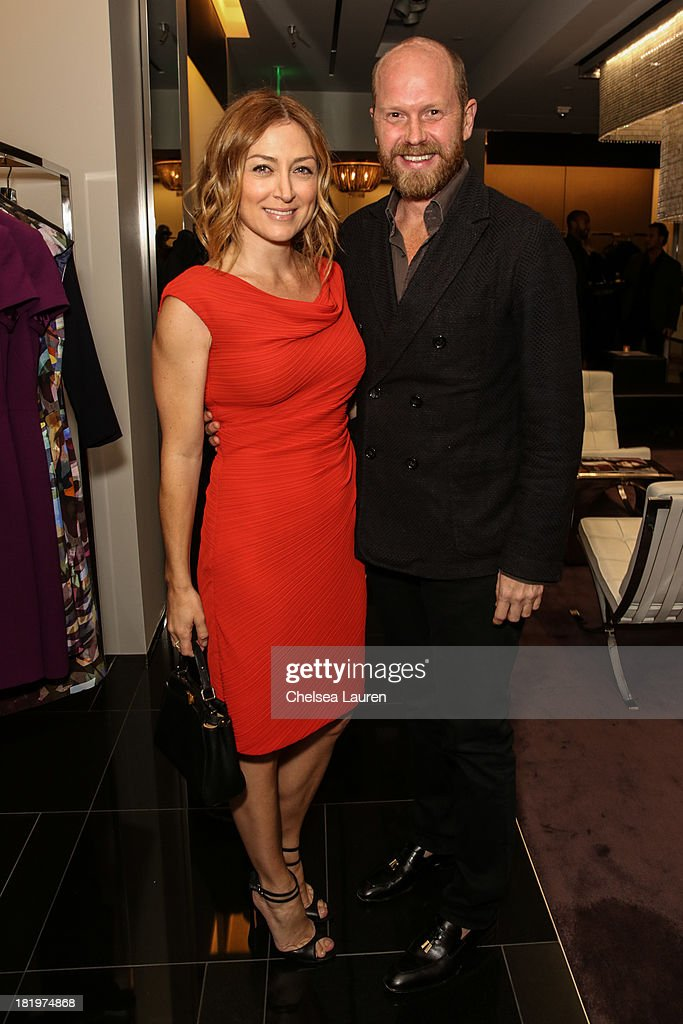 Actress Sasha Alexander (L) and ESCADA fashion director Daniel Wingate attend ESCADA and W Magazine's celebration of Cool Earth with hosts Daniel Wingate, Suzanne Todd and Jennifer Todd at Escada Boutique on September 26, 2013 in Beverly Hills, California.