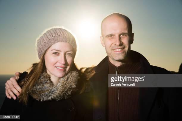 Actress Sasha Alexander and producer Edoardo Ponti pose for a portrait session on December 29 2012 in Capri Italy