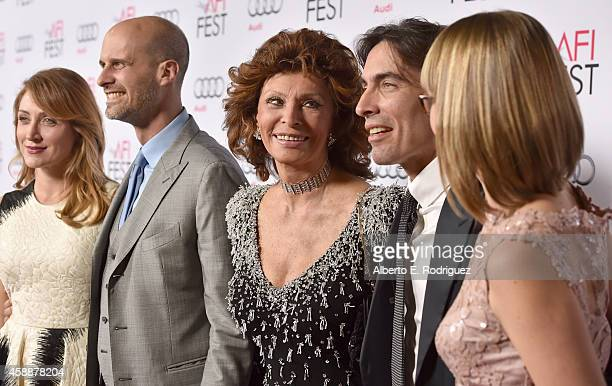 Actress Sasha Alexander director Edoardo Ponti honoree Sophia Loren conductor Carlo Ponti and violinist Andrea Meszaros Ponti attend the special...