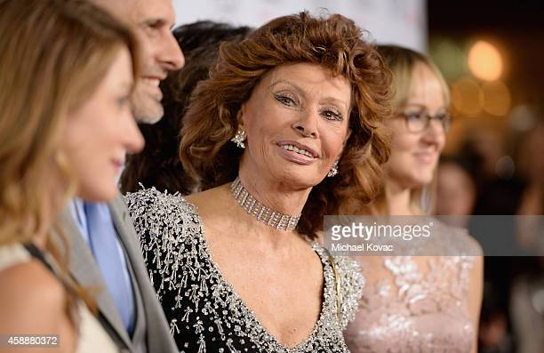 Actress Sasha Alexander director Edoardo Ponti honoree Sophia Loren and violinist Andrea Meszaros Ponti attend the special tribute to Sophia Loren...