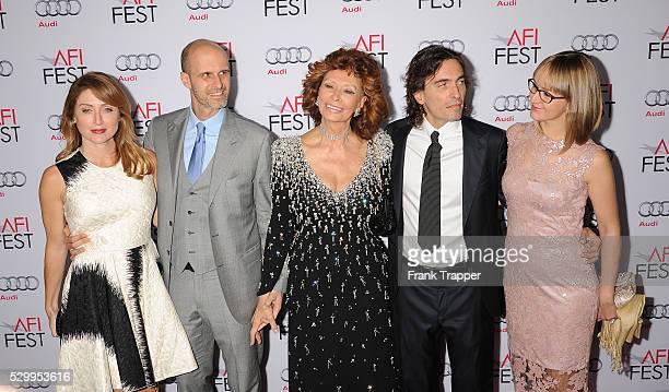 Actress Sasha Alexander director Edoardo Ponti honoree Sophia Loren conductor Carlo Ponti and violinist Andrea Meszaros Ponti arrive the AFI FEST...