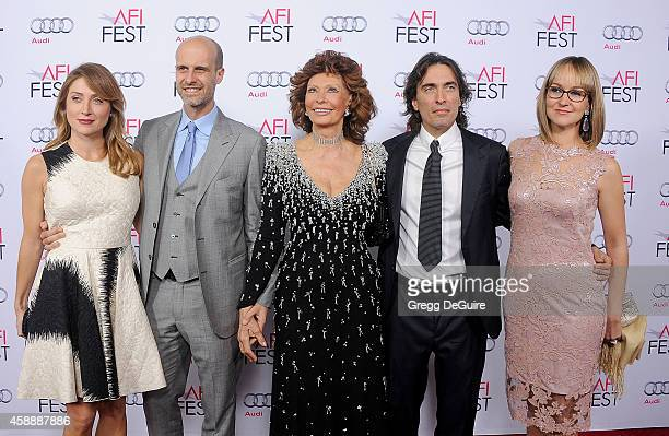 Actress Sasha Alexander Edoardo Ponti actress Sophia Loren Carlo Ponti Jr and Andrea Meszaros Ponti arrive at the AFI FEST 2014 Presented By Audi A...