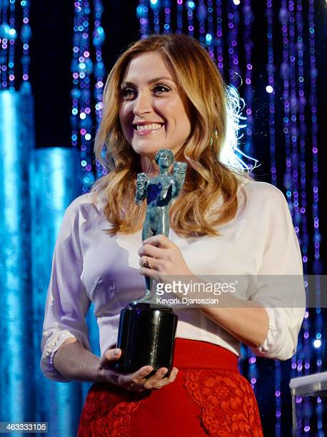 Actress Sasha Alexander holds The Actor statuette during rehearsals for the 20th Annual Screen Actors Guild awards on January 17 2014 in Los Angeles...