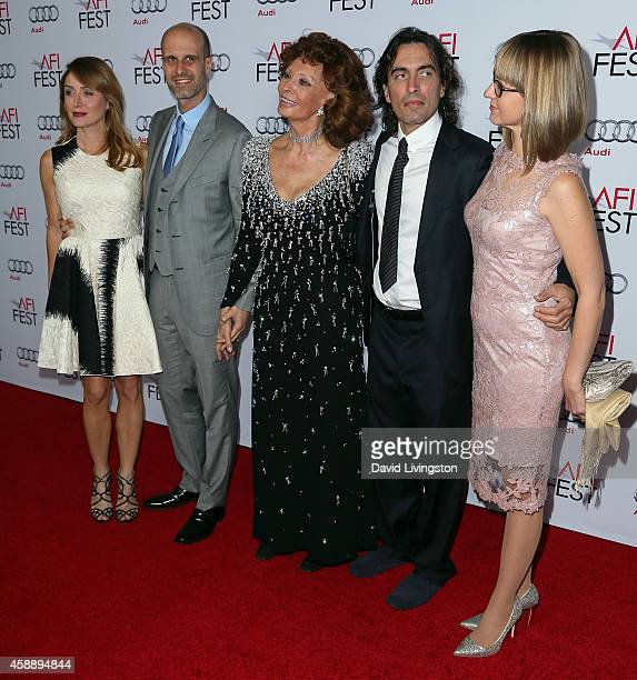 Actress Sasha Alexander husband director Edoardo Ponti actress Sophia Loren conductor Carlo Ponti Jr and wife violinist Andrea Meszaros Ponti attend...