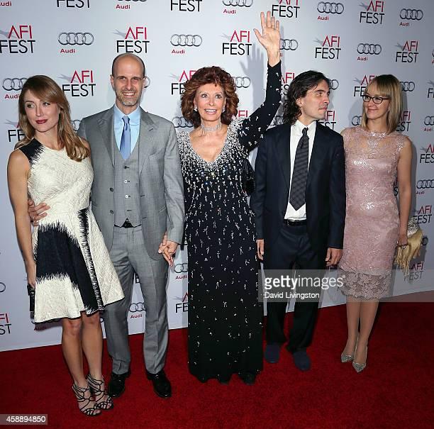 Actress Sasha Alexander husband director Edoardo Ponti actress Sophia Loren conductor Carlo Ponti Jr and wife violinist Andrea Meszaros Ponti attend...