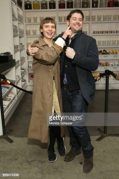 Actress Sasha Frolova and actor and director Jon Abrahams attends the All At Once New York Premiere at Metrograph on March 28 2018 in New York City