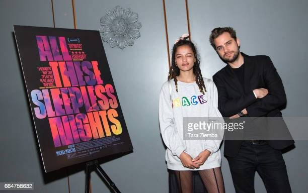 Actress Sasha Lane and director Michal Marczak attend the premiere of The Orchard's 'All These Sleepless Nights' at the Regent Theater on April 4...