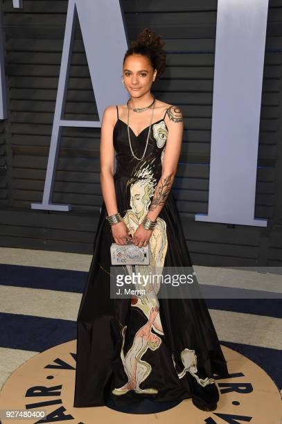 Actress Sasha Lane attends the 2018 Vanity Fair Oscar Party hosted by Radhika Jones at the Wallis Annenberg Center for the Performing Arts on March 4...