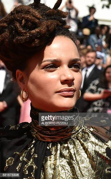 US actress Sasha Lane poses on May 15 2016 as she arrives for the screening of the film 'American Honey' at the 69th Cannes Film Festival in Cannes...