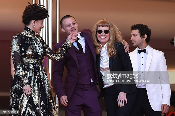 US actress Sasha Lane US actor Mccaul Lombardi British director Andrea Arnold and US actor Shia Labeouf pose on May 15 2016 as they leave the...