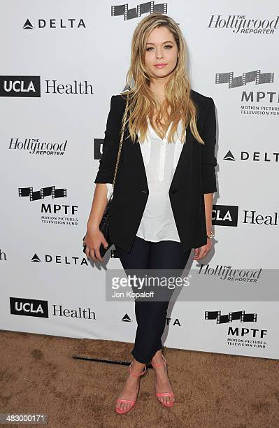 Actress Sasha Pieterse arrives at the MPTF Reel Stories Real Lives Event at Milk Studios on April 5 2014 in Los Angeles California