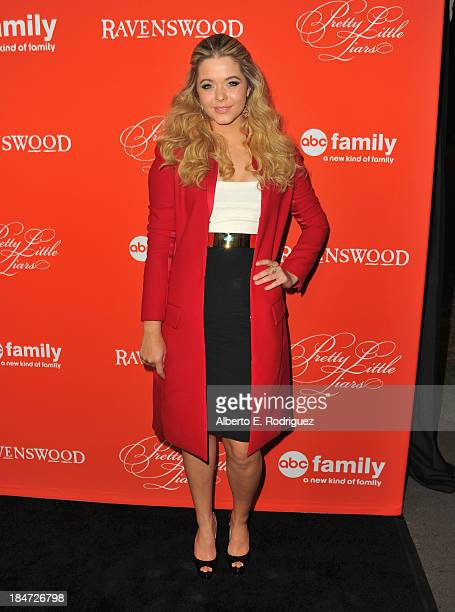 Actress Sasha Pieterse attends a screening of ABC Family's Pretty Little Liars Halloween episode at Hollywood Forever Cemetery on October 15 2013 in...