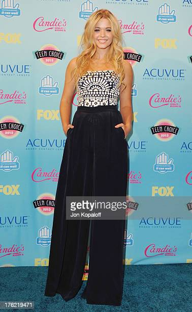 Actress Sasha Pieterse poses in the press room at the 2013 Teen Choice Awards at Gibson Amphitheatre on August 11 2013 in Universal City California