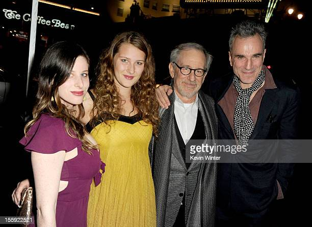 Actress Sasha Spielberg Destry Allyn Spielberg director Steven Spielberg and actor Daniel DayLewis arrive at the Lincoln premiere during AFI Fest...
