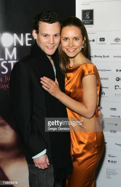 """Actress Saskia Burmeister and her partner arrive at the Australian premiere of """"The Jammed"""" at Greater Union George St on June 22, 2007 in Sydney,..."""