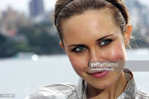 Actress Saskia Burmeister attends the launch of the new Channel Nine TV drama series Sea Patrol on board HMAS Melbourne at Garden Island on June 26...