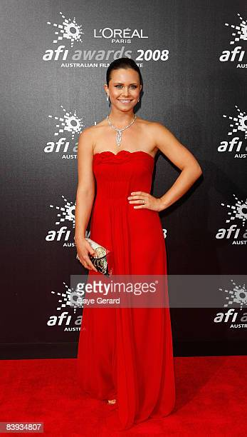 """Actress Saskia Burmeister of """"The Jammed"""" arrives at the L'Oreal Paris 2008 AFI Awards at the Princess Theatre on December 6, 2008 in Melbourne,..."""