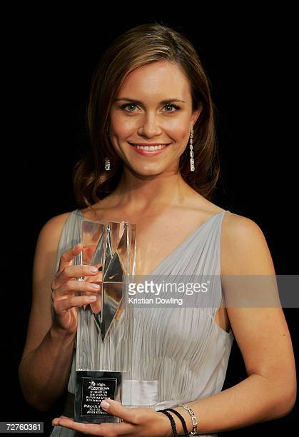 Actress Saskia Burmeister poses with the AFI Award for Best Guest or Supporting Actress in Television Drama for Blue Heelers backstage at the L'Oreal...