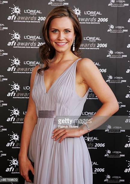 Actress Saskia Burmeister signs autographs as she arrives at the L'Oreal Paris 2006 AFI Awards at the Melbourne Exhibition Centre on December 7, 2006...