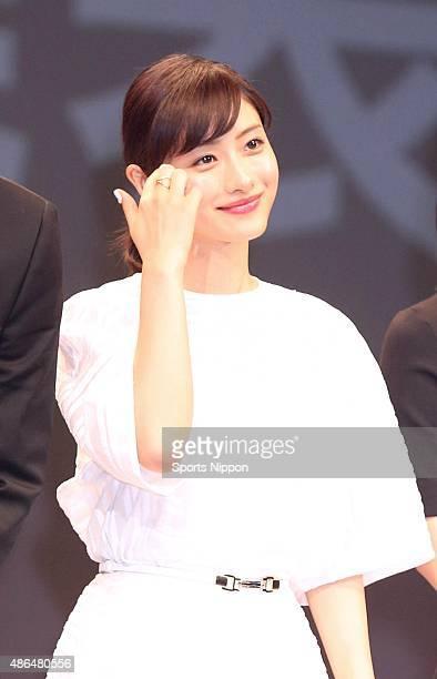 Actress Satomi Ishihara attends bTV program press conference on April 2 2015 in Tokyo Japan