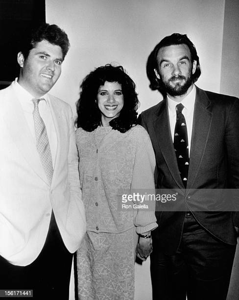 Actress Saundra Santiago and actors Michael Talbott and John Diehl attend NBC TV Affiliates Party on May 12, 1985 at the Century Plaza Hotel in...