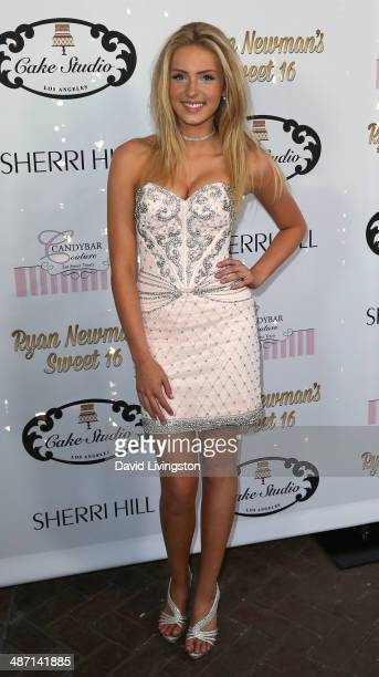 Actress Saxon Sharbino attends Ryan Newman's Glitz and Glam Sweet 16 birthday party at the Emerson Theater on April 27 2014 in Hollywood California