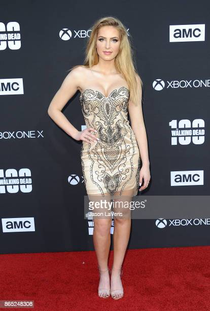 Actress Saxon Sharbino attends the 100th episode celebration off 'The Walking Dead' at The Greek Theatre on October 22 2017 in Los Angeles California