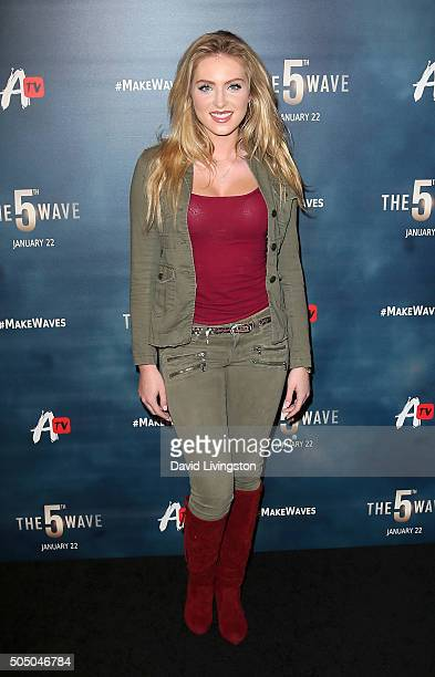 Actress Saxon Sharbino attends the AwesomenessTV special fan screening of 'The 5th Wave' at Pacific Theatre at The Grove on January 14 2016 in Los...