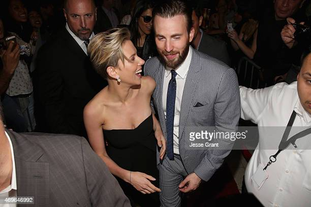 Actress Scarlett Johansson and actor Chris Evans attend the world premiere of Marvel's Avengers Age Of Ultron at the Dolby Theatre on April 13 2015...