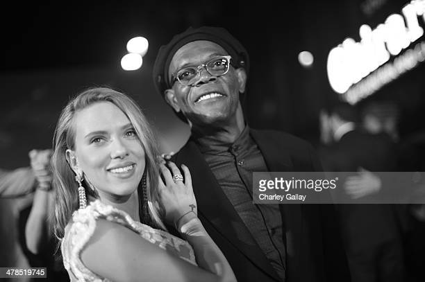 """Actress Scarlett Johansson and actor Samuel L. Jackson attend Marvel's """"Captain America: The Winter Soldier"""" premiere at the El Capitan Theatre on..."""