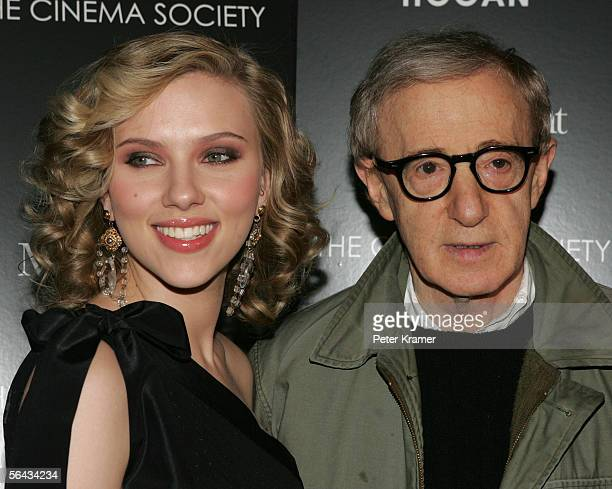 """Actress Scarlett Johansson and director Woody Allen attend a special screening of """"Match Point"""" at the Tribeca Grand Hotel on December 14, 2005 in..."""
