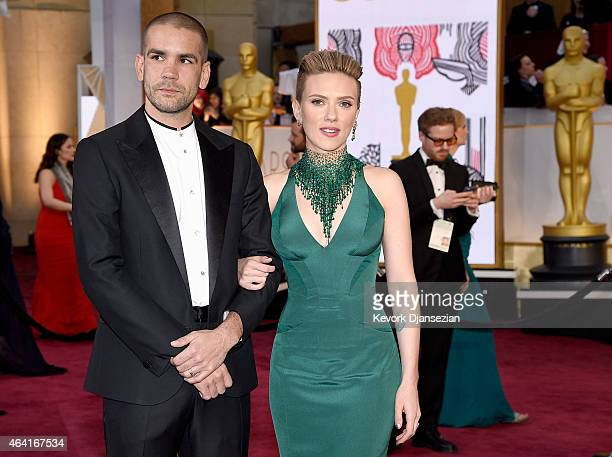 Actress Scarlett Johansson and Romain Dauriac attend the 87th Annual Academy Awards at Hollywood Highland Center on February 22 2015 in Hollywood...