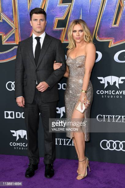 US actress Scarlett Johansson and US actor Colin Jost arrive for the World premiere of Marvel Studios' Avengers Endgame at the Los Angeles Convention...