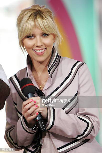 Actress Scarlett Johansson appears onstage during MTV's Total Request Live at MTV Studios July 11 2005 in New York City