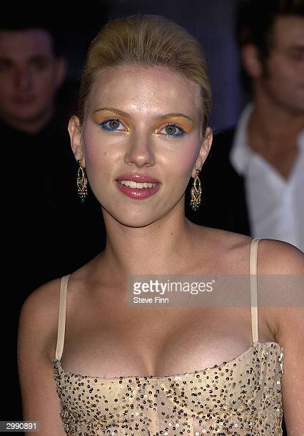 Actress Scarlett Johansson arrives at the 'Brit Awards 2004' at Earls Court 2 on February 17 2004 in London