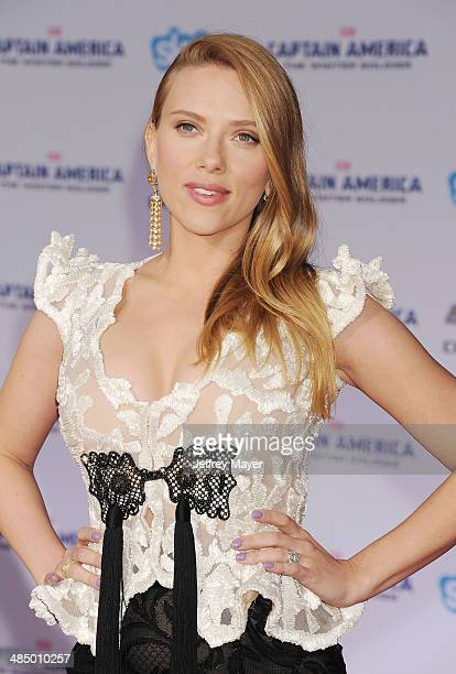 Actress Scarlett Johansson arrives at the Los Angeles premiere of 'Captain America: The Winter Soldier' at the El Capitan Theatre on March 13, 2014...