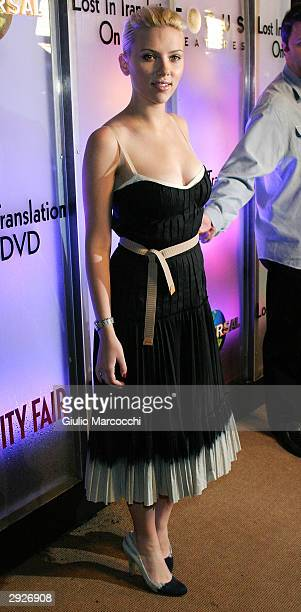 Actress Scarlett Johansson arrives at the 'Lost in Translation' DVD Launch Party on February 03 2004 at Koi Restaurant in Los Angeles California