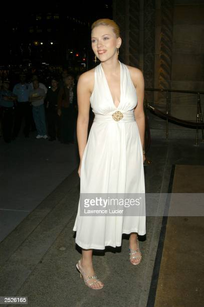 Actress Scarlett Johansson arrives at the New Yorkers For Children Fall Gala at Ciprianis September 22 2003 in New York City